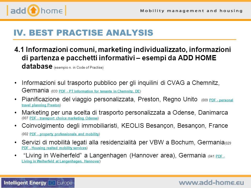 IV. BEST PRACTISE ANALYSIS 4.1 Informazioni comuni, marketing individualizzato, informazioni di partenza e pacchetti informativi – esempi da ADD HOME