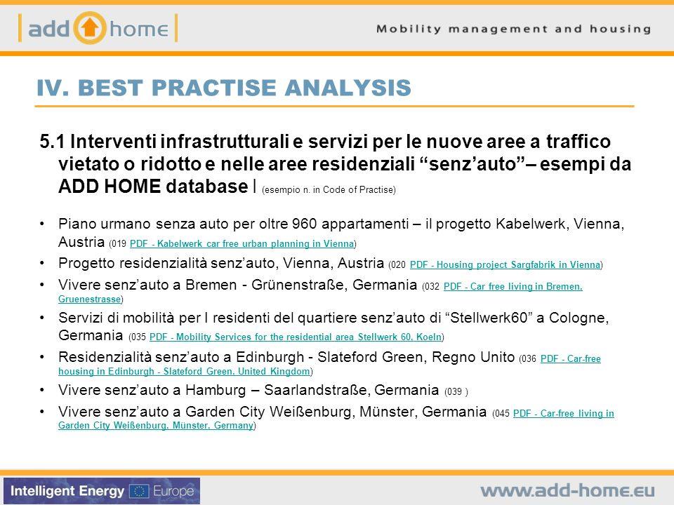 IV. BEST PRACTISE ANALYSIS 5.1 Interventi infrastrutturali e servizi per le nuove aree a traffico vietato o ridotto e nelle aree residenziali senzauto
