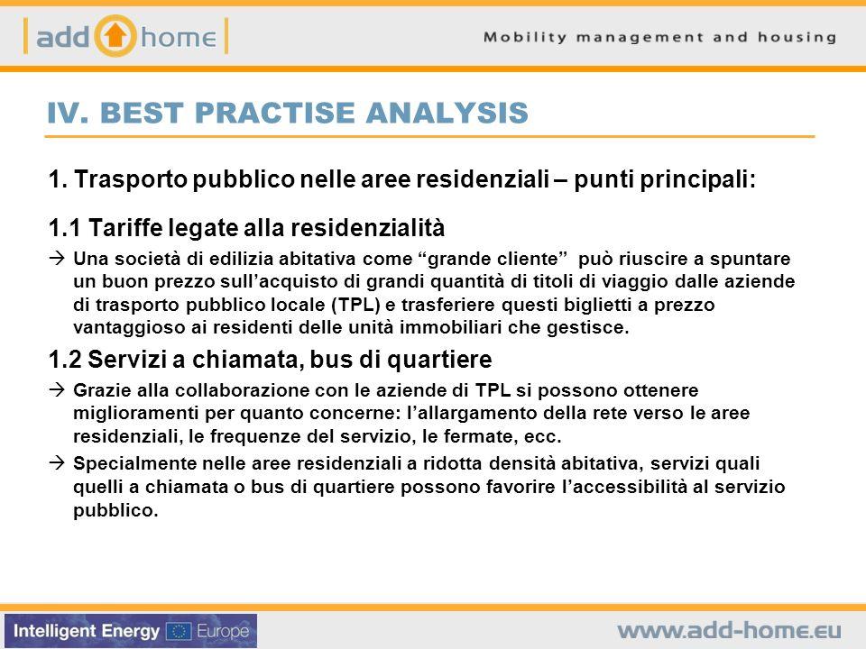 IV. BEST PRACTISE ANALYSIS 1.Trasporto pubblico nelle aree residenziali – punti principali: 1.1 Tariffe legate alla residenzialità Una società di edil