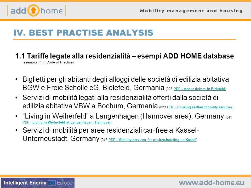 IV. BEST PRACTISE ANALYSIS 1.1 Tariffe legate alla residenzialità – esempi ADD HOME database (esempio n°. in Code of Practise) Biglietti per gli abita
