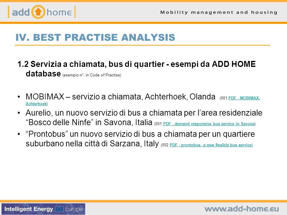 IV. BEST PRACTISE ANALYSIS 1.2 Servizia a chiamata, bus di quartier - esempi da ADD HOME database (esempio n°. in Code of Practise) MOBIMAX – servizio