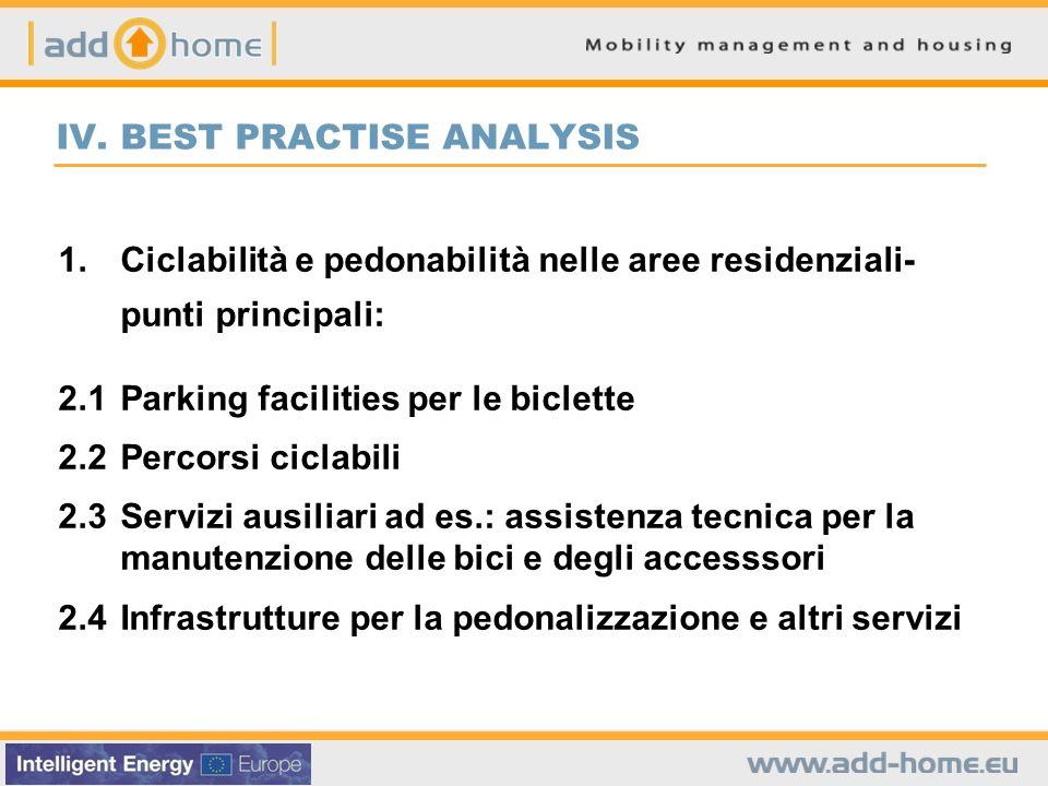 IV. BEST PRACTISE ANALYSIS 1.Ciclabilità e pedonabilità nelle aree residenziali- punti principali: 2.1Parking facilities per le biclette 2.2Percorsi c