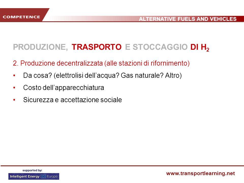 ALTERNATIVE FUELS AND VEHICLES www.transportlearning.net PRODUZIONE, TRASPORTO E STOCCAGGIO DI H 2 2.