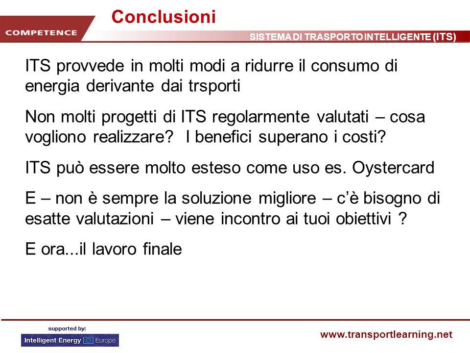 SISTEMA DI TRASPORTO INTELLIGENTE (ITS) www.transportlearning.net Conclusioni ITS provvede in molti modi a ridurre il consumo di energia derivante dai