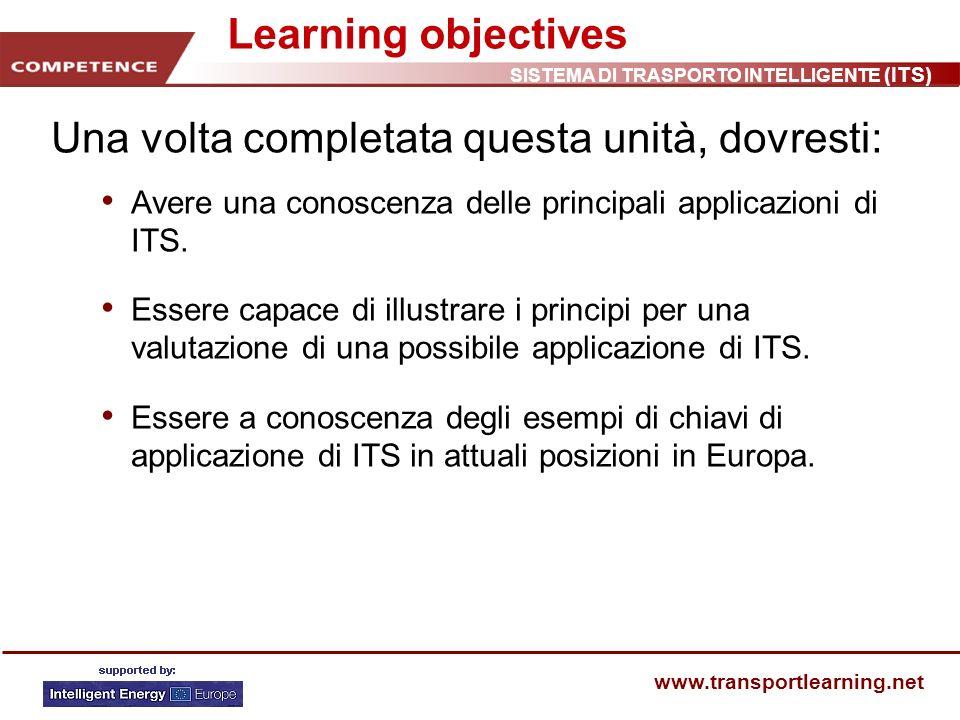 SISTEMA DI TRASPORTO INTELLIGENTE (ITS) www.transportlearning.net Tipi base di ITS 1 Galileo Segnalazione di incidenti Limiti di velocità variabili Controllo delle rampe