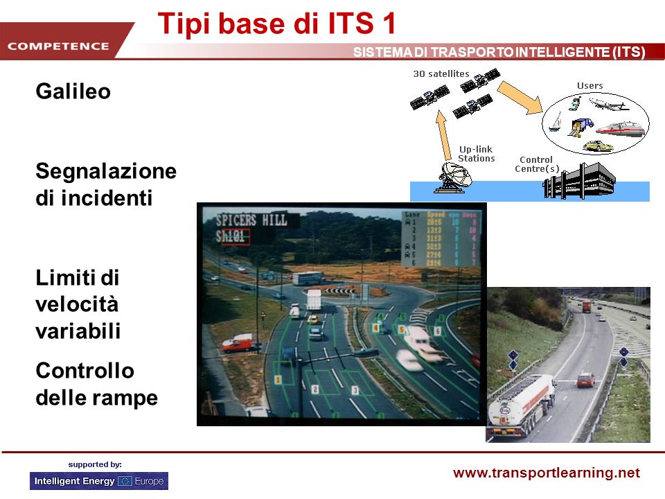 SISTEMA DI TRASPORTO INTELLIGENTE (ITS) www.transportlearning.net Tipi base di ITS 1 Galileo Segnalazione di incidenti Limiti di velocità variabili Co