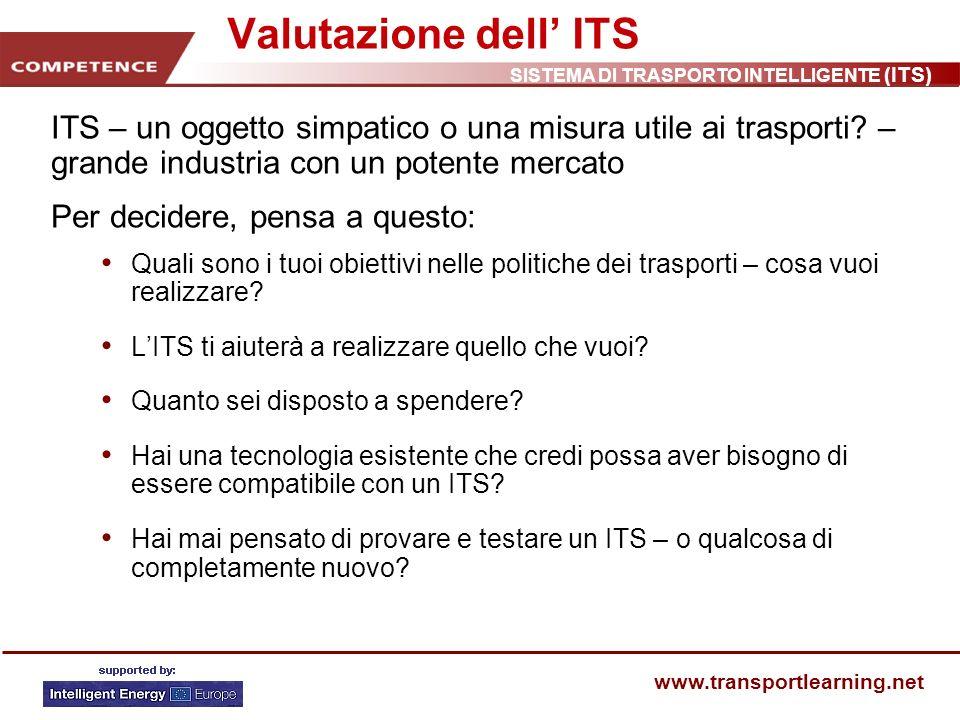 SISTEMA DI TRASPORTO INTELLIGENTE (ITS) www.transportlearning.net Valutazione dell ITS ITS – un oggetto simpatico o una misura utile ai trasporti? – g