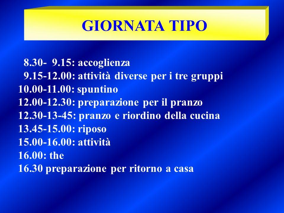 8.30- 9.15: accoglienza 9.15-12.00: attività diverse per i tre gruppi 10.00-11.00: spuntino 12.00-12.30: preparazione per il pranzo 12.30-13-45: pranz