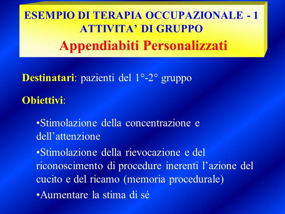 Destinatari: pazienti del 1°-2° gruppo Obiettivi: Stimolazione della concentrazione e dellattenzione Stimolazione della rievocazione e del riconoscime