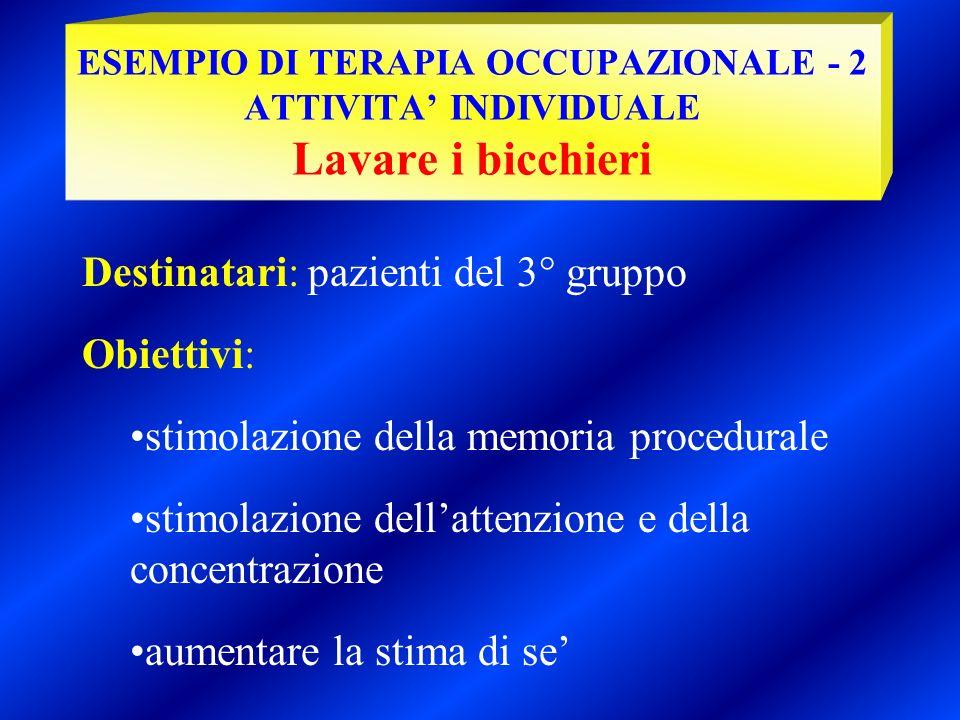 Destinatari: pazienti del 3° gruppo Obiettivi: stimolazione della memoria procedurale stimolazione dellattenzione e della concentrazione aumentare la