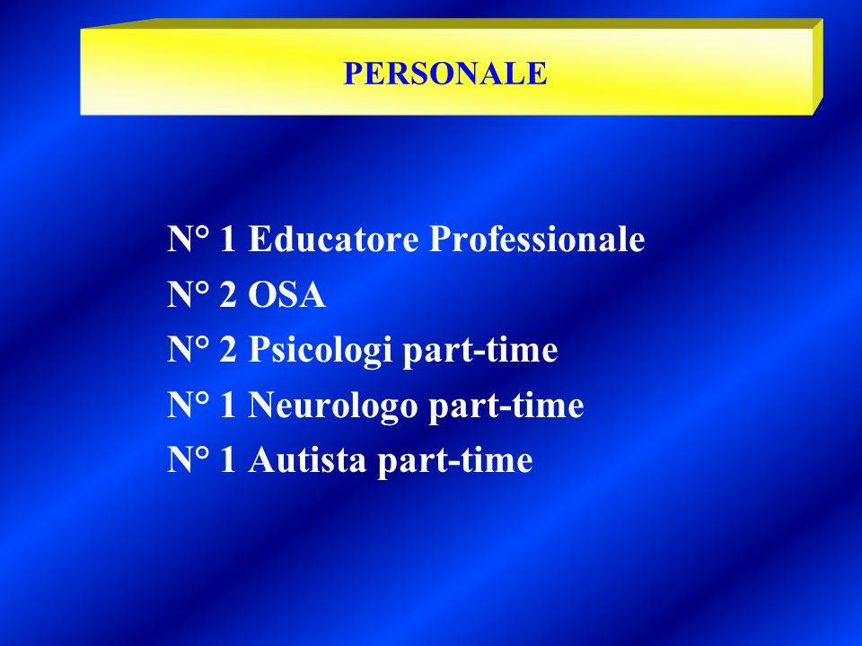 N° 1 Educatore Professionale N° 2 OSA N° 2 Psicologi part-time N° 1 Neurologo part-time N° 1 Autista part-time PERSONALE