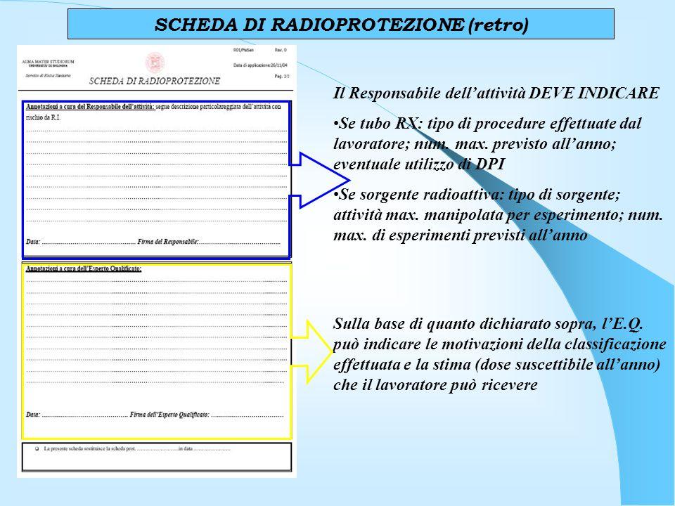 SCHEDA DI RADIOPROTEZIONE (retro) Il Responsabile dellattività DEVE INDICARE Se tubo RX: tipo di procedure effettuate dal lavoratore; num.