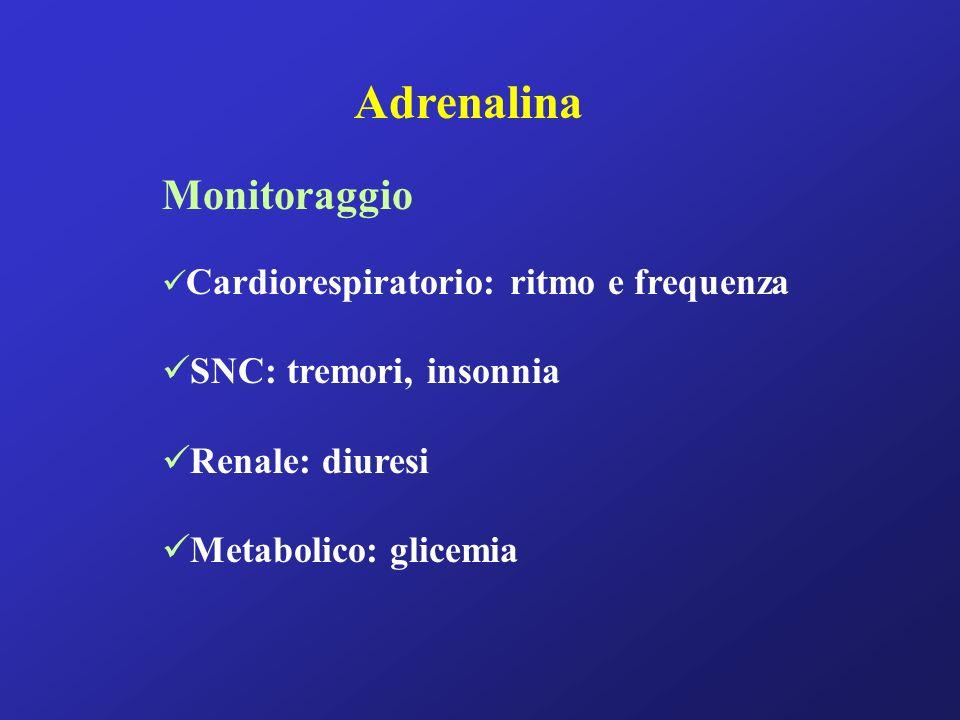 Adrenalina Monitoraggio Cardiorespiratorio: ritmo e frequenza SNC: tremori, insonnia Renale: diuresi Metabolico: glicemia