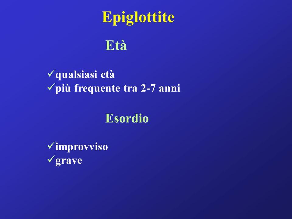 Epiglottite Età qualsiasi età più frequente tra 2-7 anni Esordio improvviso grave