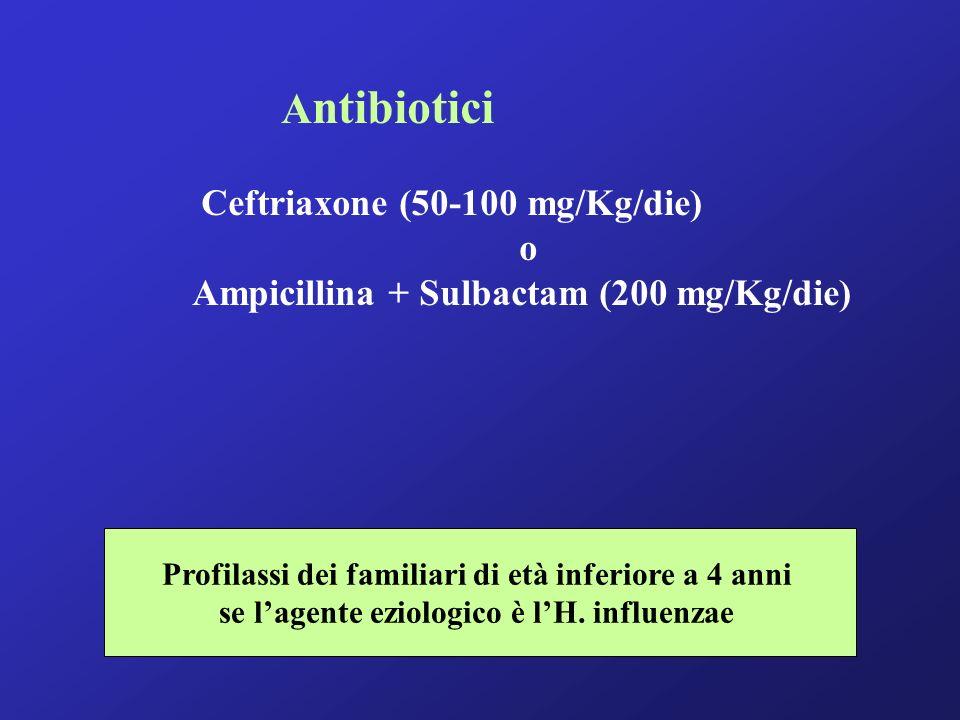 A ntibiotici Ceftriaxone (50-100 mg/Kg/die) o Ampicillina + Sulbactam (200 mg/Kg/die) Profilassi dei familiari di età inferiore a 4 anni se lagente eziologico è lH.