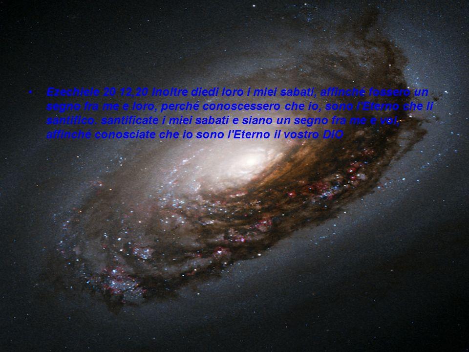 Ezechiele 20 12,20 Inoltre diedi loro i miei sabati, affinché fossero un segno fra me e loro, perché conoscessero che io, sono l'Eterno che li santifi