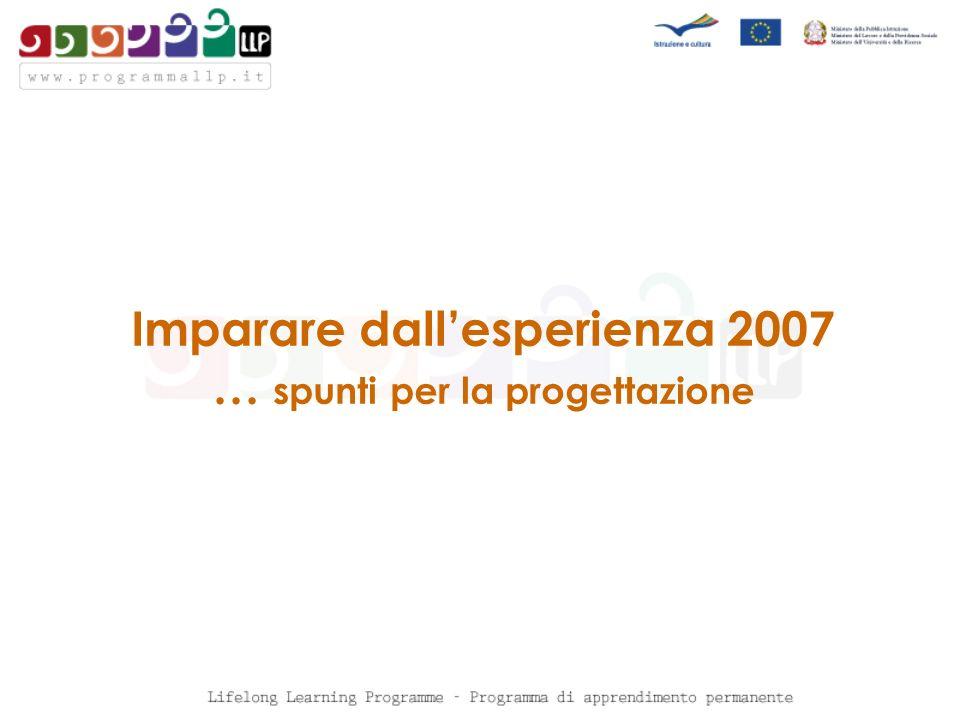 Imparare dallesperienza 2007 … spunti per la progettazione