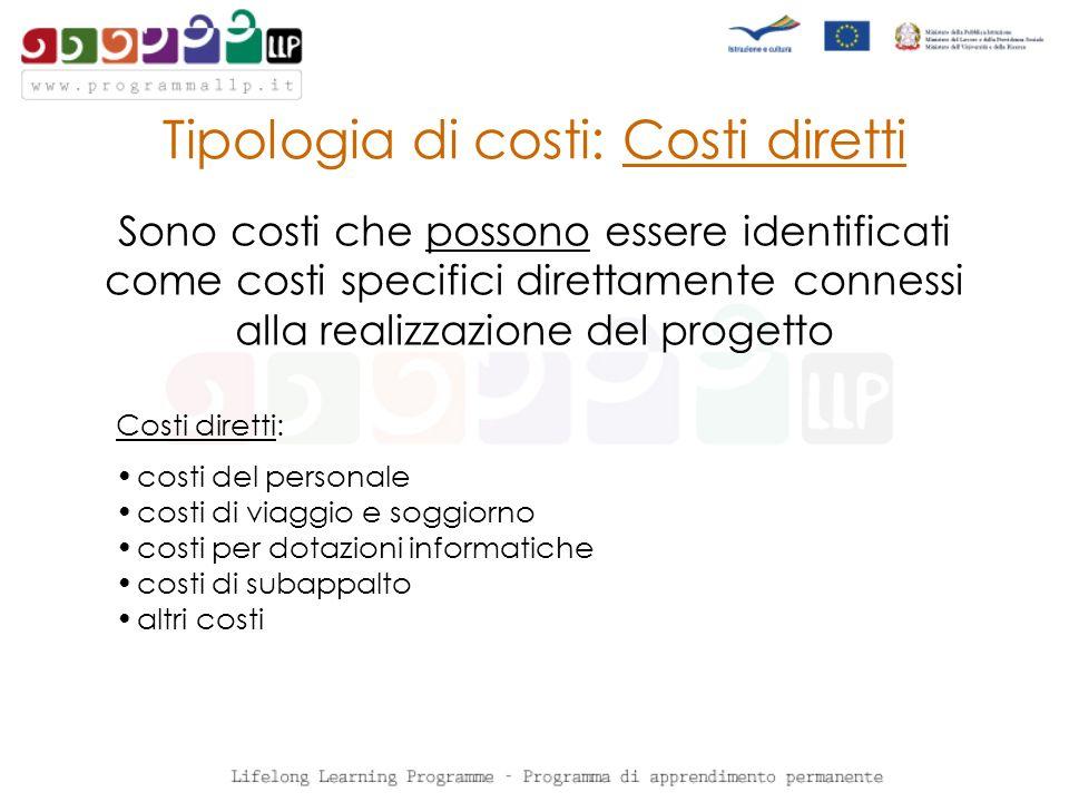 Tipologia di costi: Costi diretti Sono costi che possono essere identificati come costi specifici direttamente connessi alla realizzazione del progetto Costi diretti: costi del personale costi di viaggio e soggiorno costi per dotazioni informatiche costi di subappalto altri costi