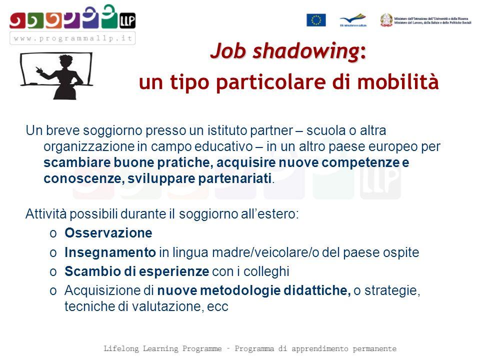 Job shadowing: Job shadowing: un tipo particolare di mobilità Un breve soggiorno presso un istituto partner – scuola o altra organizzazione in campo educativo – in un altro paese europeo per scambiare buone pratiche, acquisire nuove competenze e conoscenze, sviluppare partenariati.