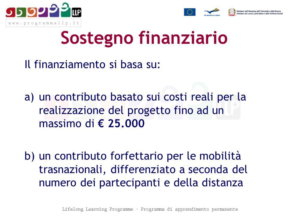 Sostegno finanziario Il finanziamento si basa su: a)un contributo basato sui costi reali per la realizzazione del progetto fino ad un massimo di 25.000 b)un contributo forfettario per le mobilità trasnazionali, differenziato a seconda del numero dei partecipanti e della distanza