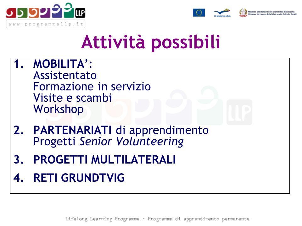 Attività possibili 1.MOBILITA: Assistentato Formazione in servizio Visite e scambi Workshop 2.PARTENARIATI di apprendimento Progetti Senior Volunteering 3.PROGETTI MULTILATERALI 4.RETI GRUNDTVIG