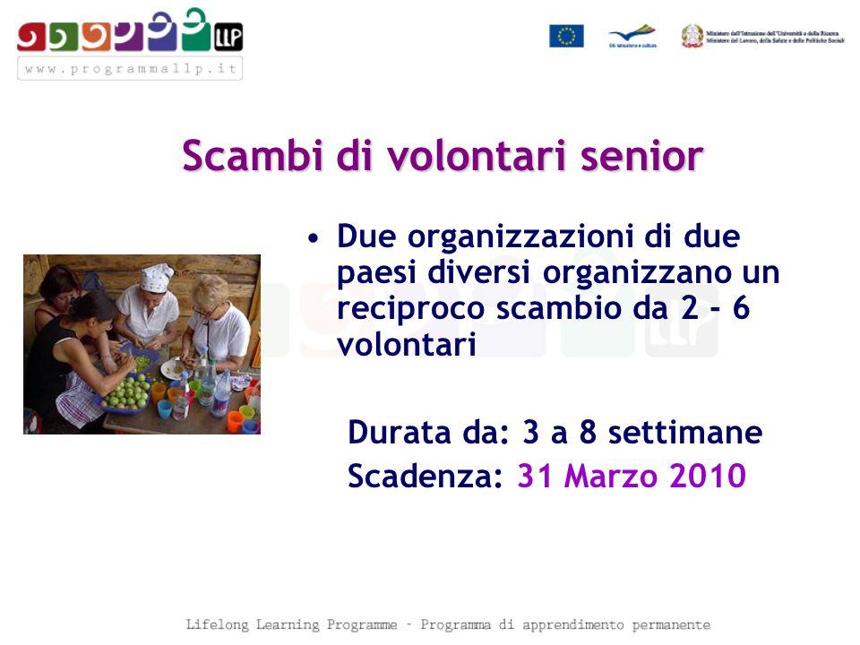 Scambi di volontari senior Due organizzazioni di due paesi diversi organizzano un reciproco scambio da 2 - 6 volontari Durata da: 3 a 8 settimane Scadenza: 31 Marzo 2010