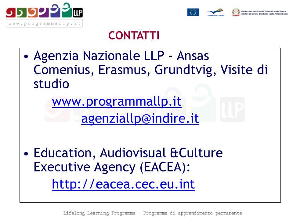 Agenzia Nazionale LLP - Ansas Comenius, Erasmus, Grundtvig, Visite di studio www.programmallp.it agenziallp@indire.it Education, Audiovisual &Culture Executive Agency (EACEA): http://eacea.cec.eu.int CONTATTI