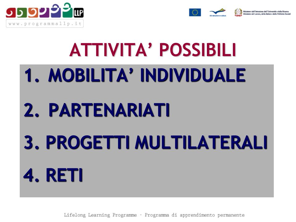 Agenzia Nazionale LLP - Ansas Comenius, Erasmus, Grundtvig, Visite di studio www.programmallp.it agenziallp@indire.it Education, Audiovisual &Culture Executive Agency (EACEA): http://eacea.cec.eu.int CONTATTI