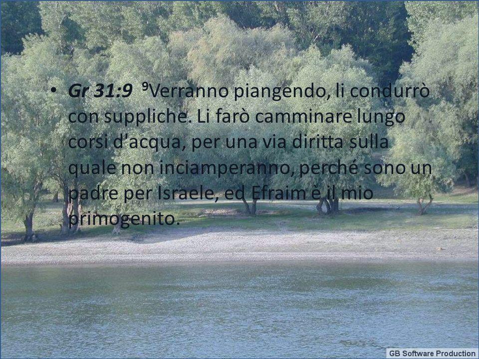 Gr 31:9 9 Verranno piangendo, li condurrò con suppliche. Li farò camminare lungo corsi d'acqua, per una via diritta sulla quale non inciamperanno, per