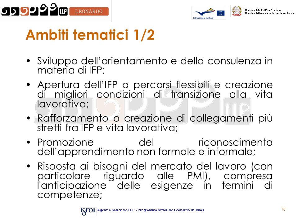 10 Ambiti tematici 1/2 Sviluppo dellorientamento e della consulenza in materia di IFP; Apertura dellIFP a percorsi flessibili e creazione di migliori