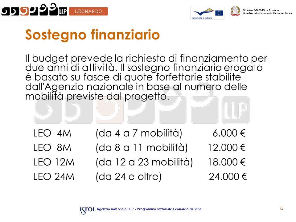 12 Sostegno finanziario Il budget prevede la richiesta di finanziamento per due anni di attività. Il sostegno finanziario erogato è basato su fasce di