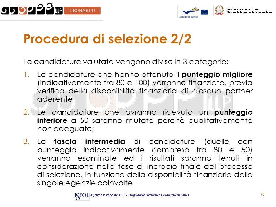 18 Procedura di selezione 2/2 Le candidature valutate vengono divise in 3 categorie: 1.Le candidature che hanno ottenuto il punteggio migliore (indica