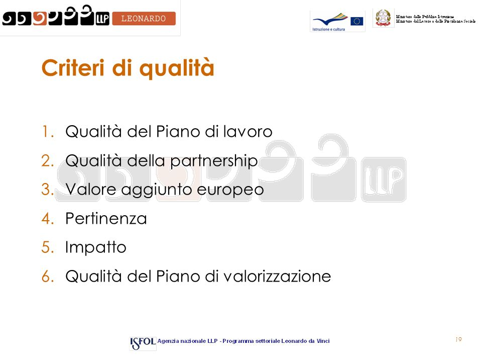 19 Criteri di qualità 1.Qualità del Piano di lavoro 2.Qualità della partnership 3.Valore aggiunto europeo 4.Pertinenza 5.Impatto 6.Qualità del Piano di valorizzazione