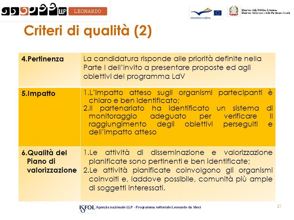 21 Criteri di qualità (2) 4.Pertinenza La candidatura risponde alle priorità definite nella Parte I dellInvito a presentare proposte ed agli obiettivi