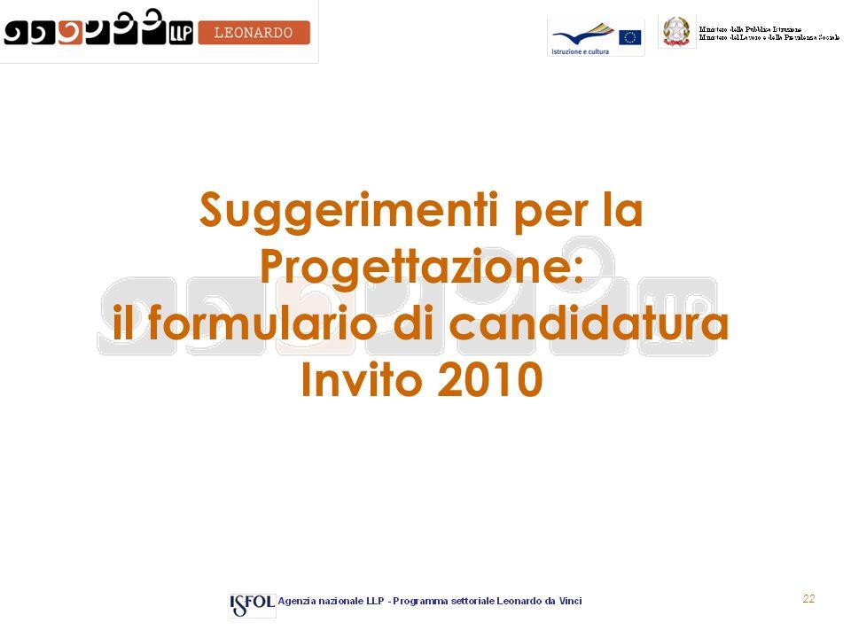 22 Suggerimenti per la Progettazione: il formulario di candidatura Invito 2010