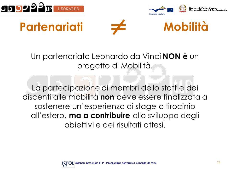 23 Partenariati Mobilità Un partenariato Leonardo da Vinci NON è un progetto di Mobilità. La partecipazione di membri dello staff e dei discenti alle