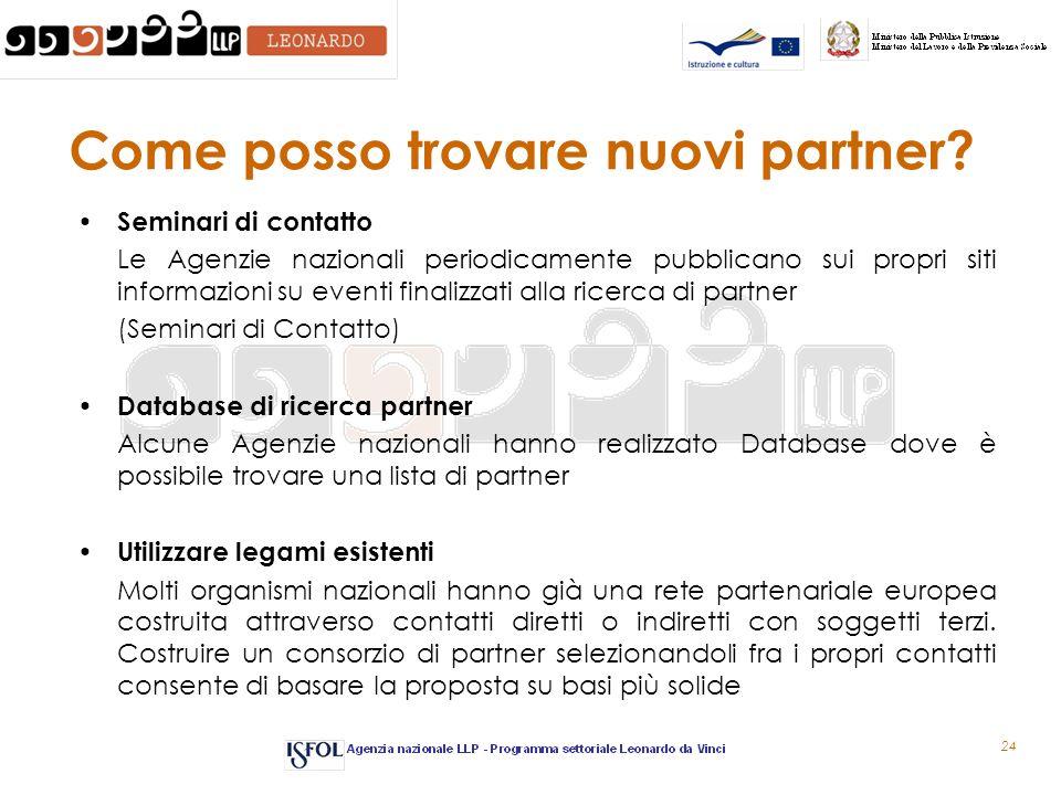 24 Come posso trovare nuovi partner? Seminari di contatto Le Agenzie nazionali periodicamente pubblicano sui propri siti informazioni su eventi finali