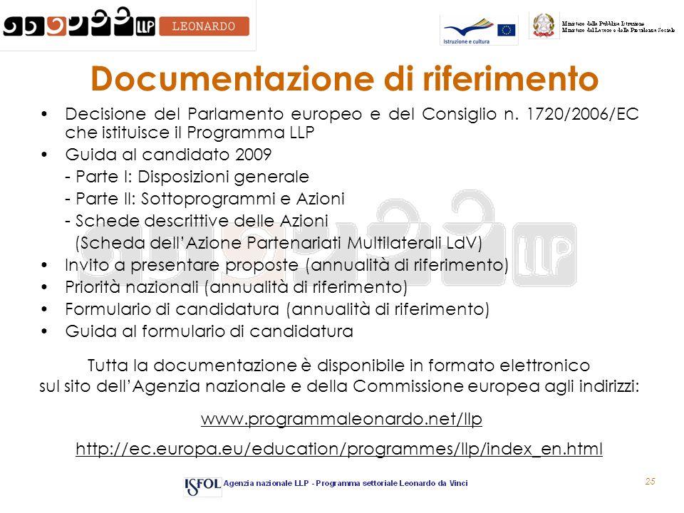 25 Documentazione di riferimento Decisione del Parlamento europeo e del Consiglio n. 1720/2006/EC che istituisce il Programma LLP Guida al candidato 2