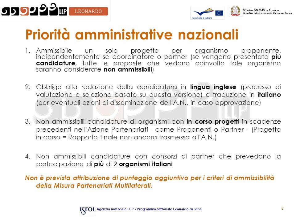 8 Priorità amministrative nazionali 1.Ammissibile un solo progetto per organismo proponente, indipendentemente se coordinatore o partner (se vengono p