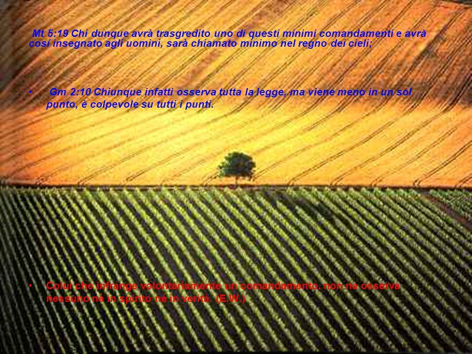 Mt 5:19 Chi dunque avrà trasgredito uno di questi minimi comandamenti e avrà cosí insegnato agli uomini, sarà chiamato minimo nel regno dei cieli; Gm