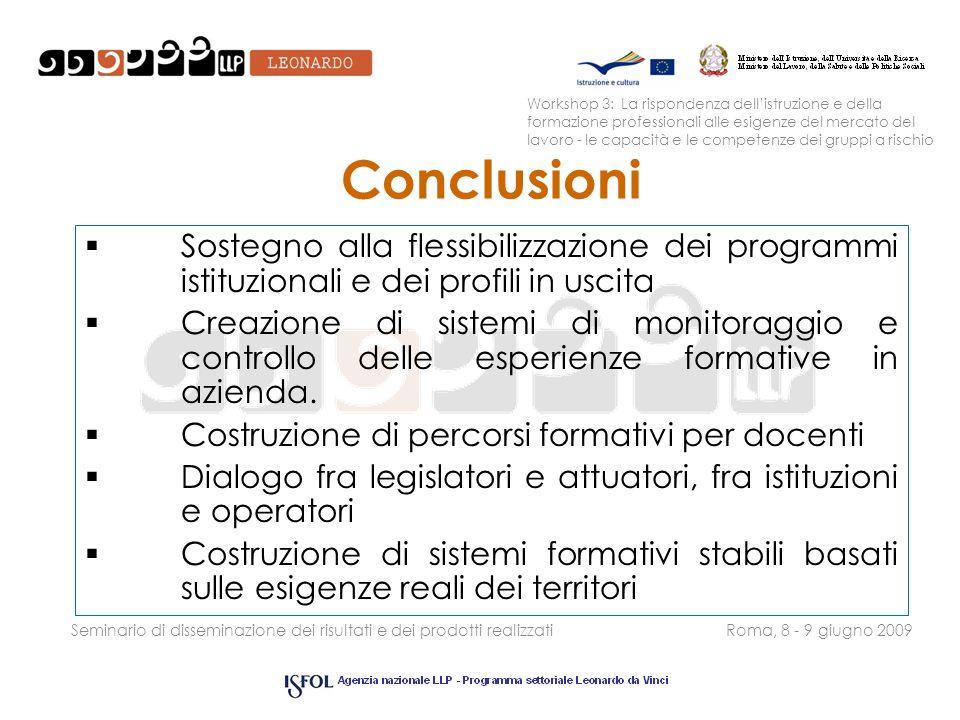 Seminario di disseminazione dei risultati e dei prodotti realizzatiRoma, 8 - 9 giugno 2009 Conclusioni Sostegno alla flessibilizzazione dei programmi