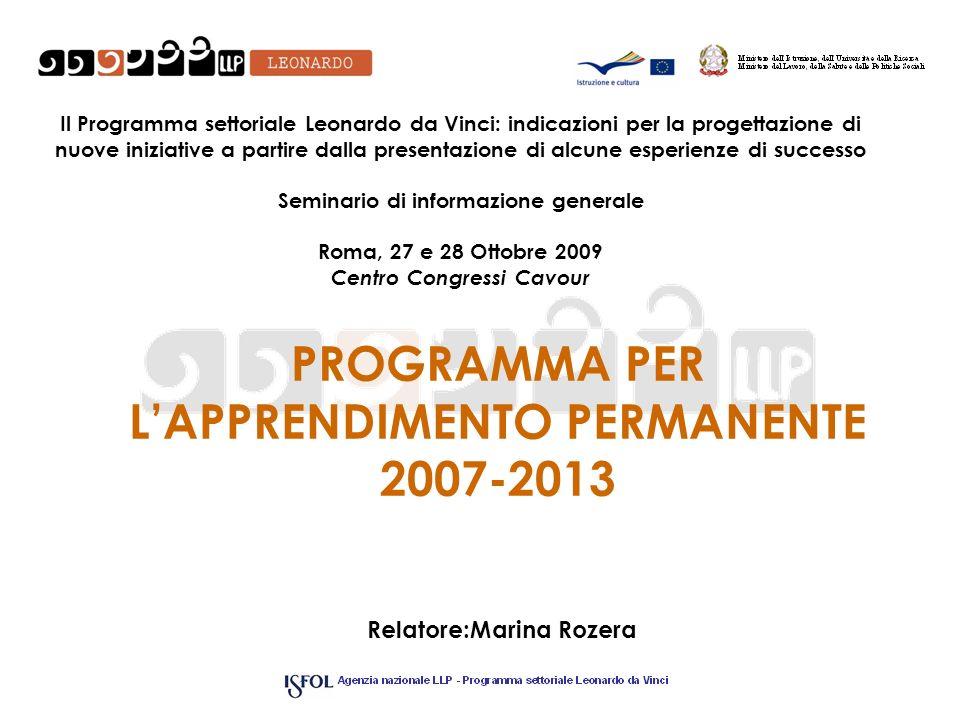 Il Background del Programma LLP Dichiarazione di Bologna (1999): costruzione di uno spazio europeo dellistruzione superiore Consiglio di Lisbona (2000): obiettivo di massima competività delleconomia europea entro il 2010 2