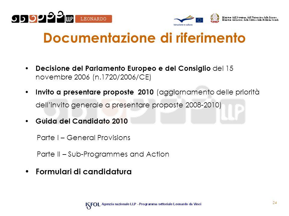 Documentazione di riferimento Decisione del Parlamento Europeo e del Consiglio del 15 novembre 2006 (n.1720/2006/CE) Invito a presentare proposte 2010 (aggiornamento delle priorità dellinvito generale a presentare proposte 2008-2010) Guida del Candidato 2010 Parte I – General Provisions Parte II – Sub-Programmes and Action Formulari di candidatura 24