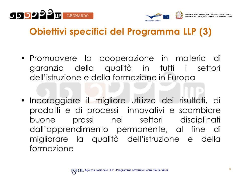 Obiettivi specifici del Programma LLP (3) Promuovere la cooperazione in materia di garanzia della qualità in tutti i settori dellistruzione e della formazione in Europa Incoraggiare il migliore utilizzo dei risultati, di prodotti e di processi innovativi e scambiare buone prassi nei settori disciplinati dallapprendimento permanente, al fine di migliorare la qualità dellistruzione e della formazione 8