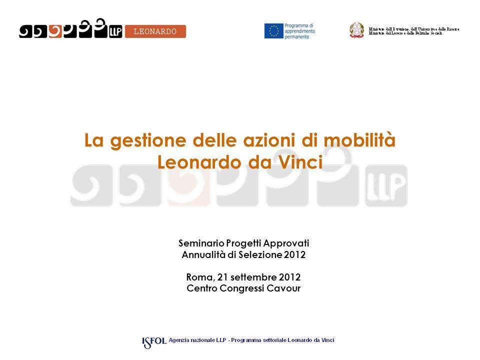 La gestione delle azioni di mobilità Leonardo da Vinci Seminario Progetti Approvati Annualità di Selezione 2012 Roma, 21 settembre 2012 Centro Congres