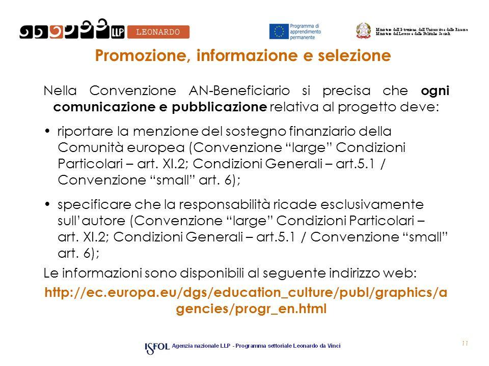 11 Promozione, informazione e selezione Nella Convenzione AN-Beneficiario si precisa che ogni comunicazione e pubblicazione relativa al progetto deve: