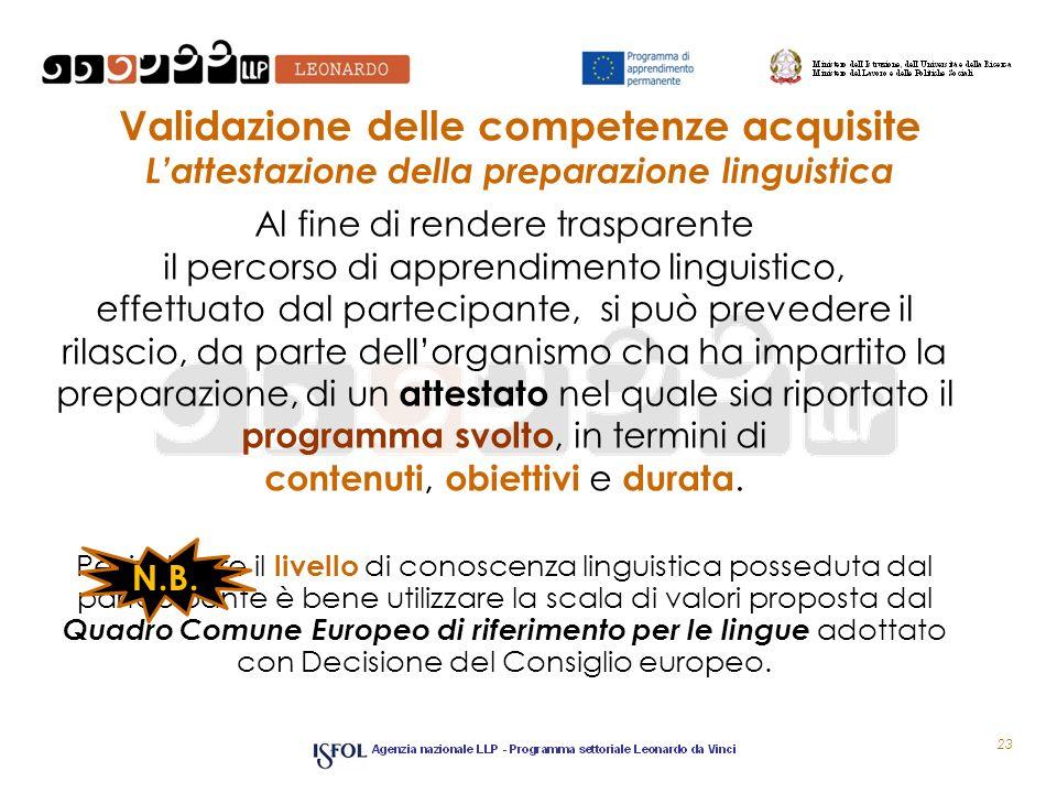 Validazione delle competenze acquisite Lattestazione della preparazione linguistica Al fine di rendere trasparente il percorso di apprendimento lingui