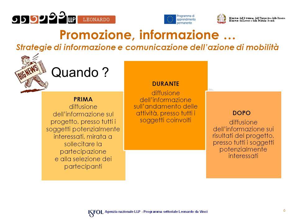 Promozione, informazione e selezione alcuni strumenti 7 brochure depliant stampa locale BANDO incontri di socializzazione colloqui individuali rete web convegni seminari