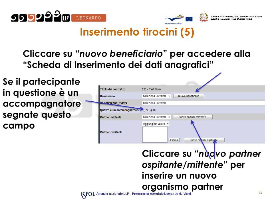 Inserimento tirocini (5) Cliccare su nuovo beneficiario per accedere alla Scheda di inserimento dei dati anagrafici 12 Se il partecipante in questione