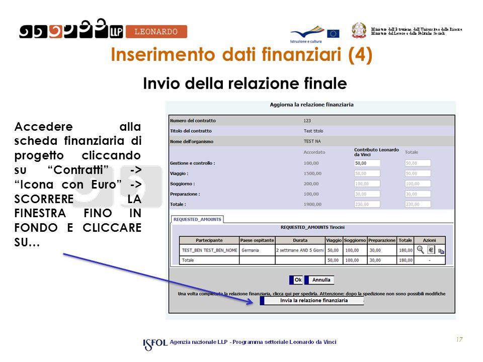 Inserimento dati finanziari (4) Accedere alla scheda finanziaria di progetto cliccando su Contratti -> Icona con Euro -> SCORRERE LA FINESTRA FINO IN